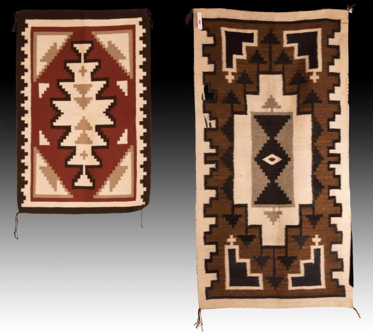 2Pc Navajo Hand Woven Wool Rug Lot