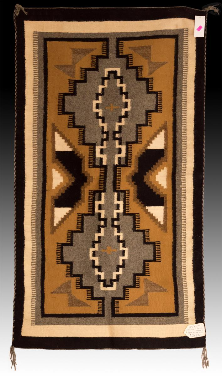 Navajo Two Grey Hills Hand Woven Wool Rug