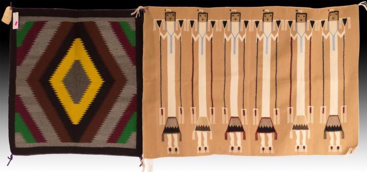 2Pc Navajo Yeibichai Hand Woven Wool Rug