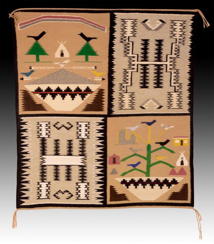 A. Begay Navajo Hand Woven Wool Rug