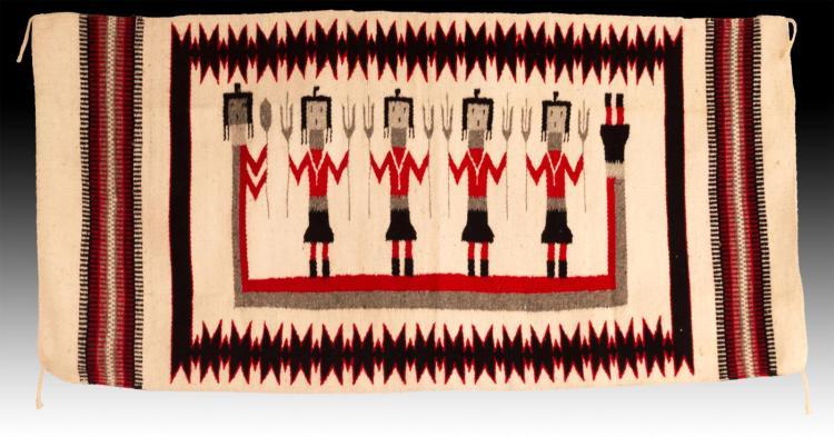 20th C. Navajo Hand Woven Wool Yei-bichai Rug