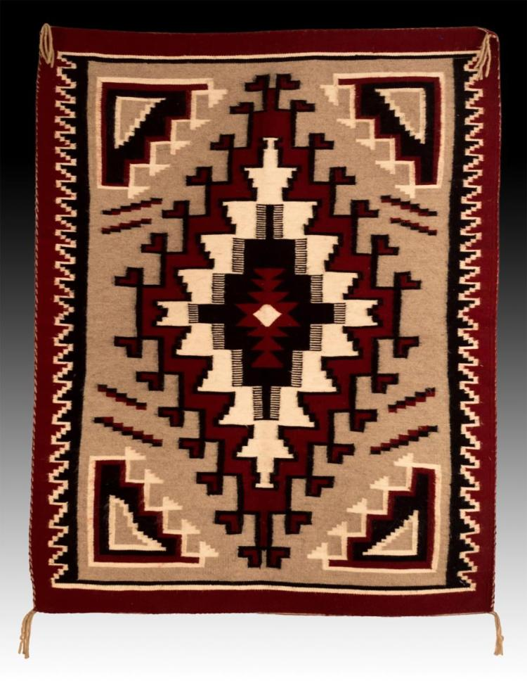 20th C. Navajo Hand Woven Wool Rug by Leann Tsosie