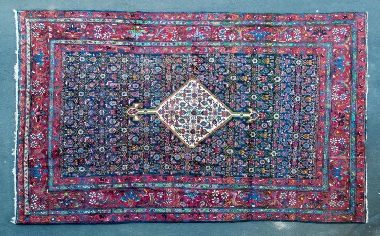 20th C Burgundy Persian Wool Rug w/ Floral Design