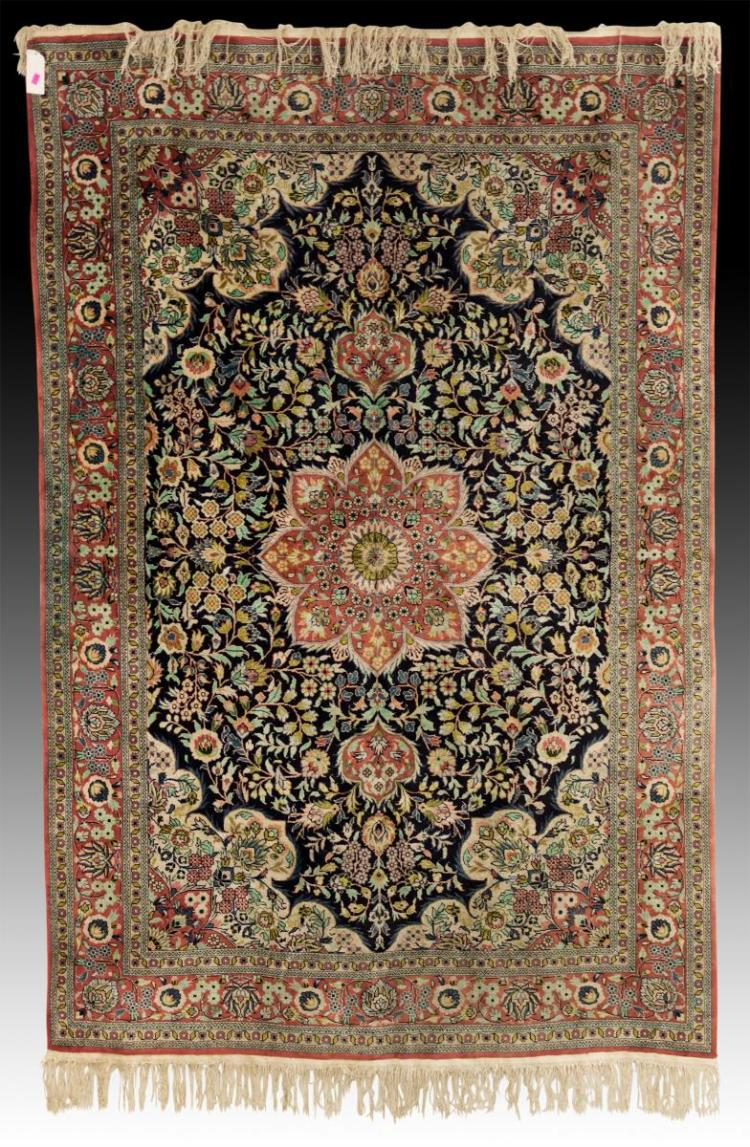 Vintage Persian Floral Hand Woven Wool Rug