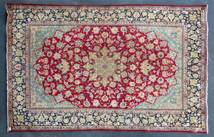 Vintage Handmade Persian Rug, Floral Design