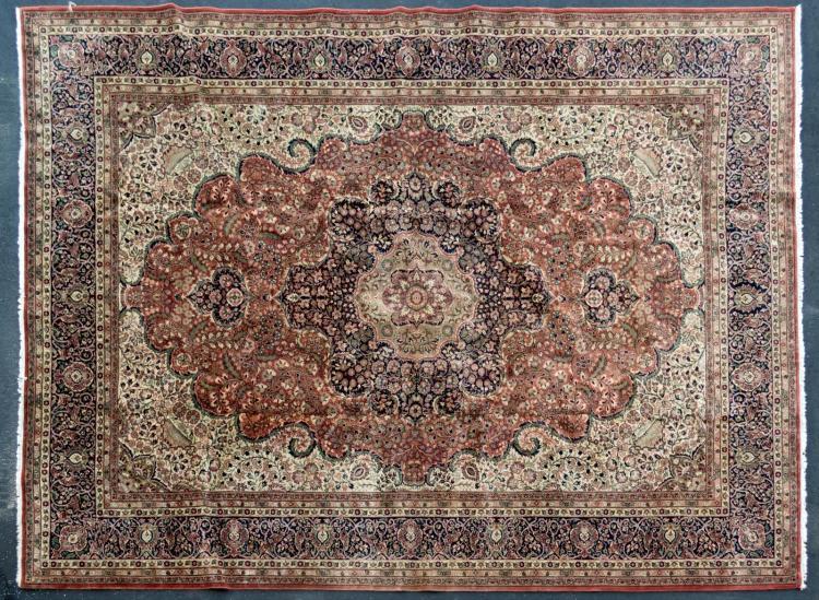Vintage Handmade India Floral Rug, Room Size