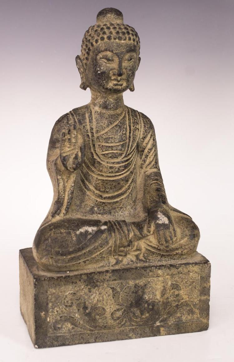 Antique Asian Seated Buddha Stone Sculpture