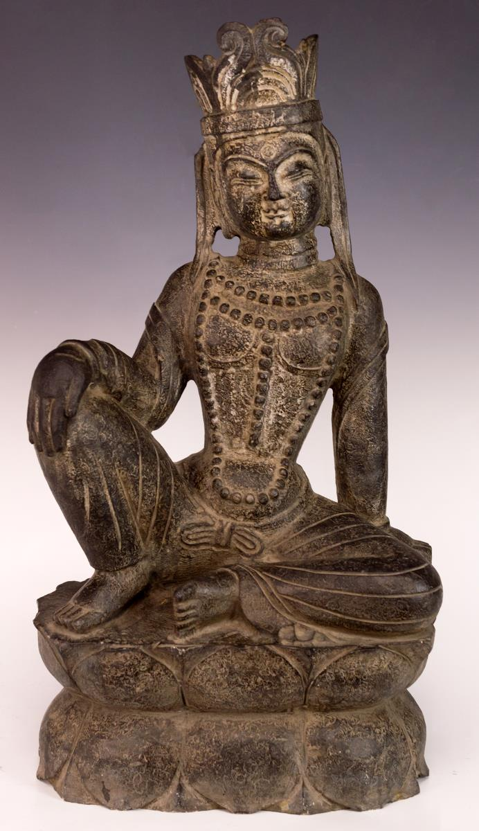 Antique Asian Quan Yin Stone Sculpture