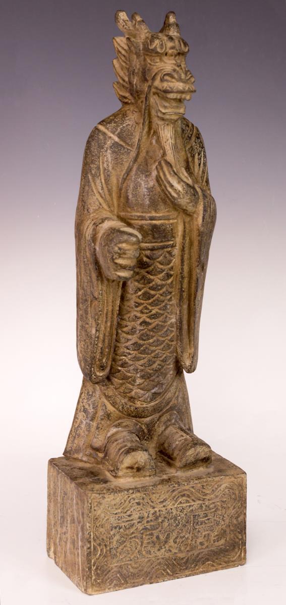 Antique Asian Dragon King Stone Figure