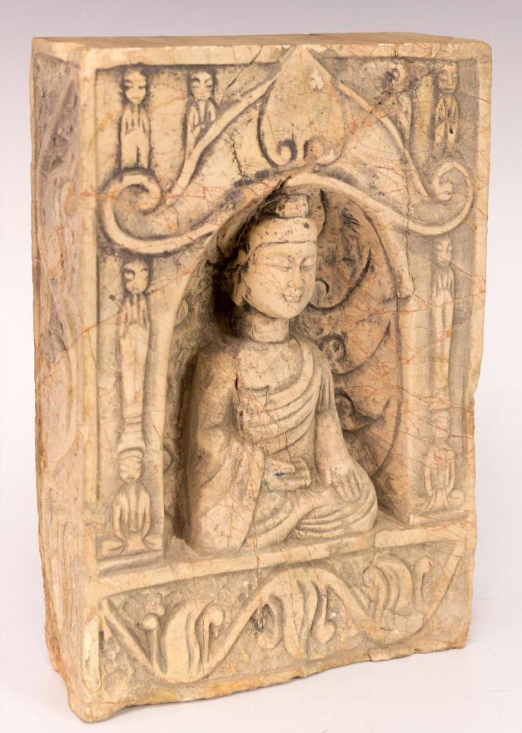 Antique Asian Stone Tile Buddha Meditating In Cave