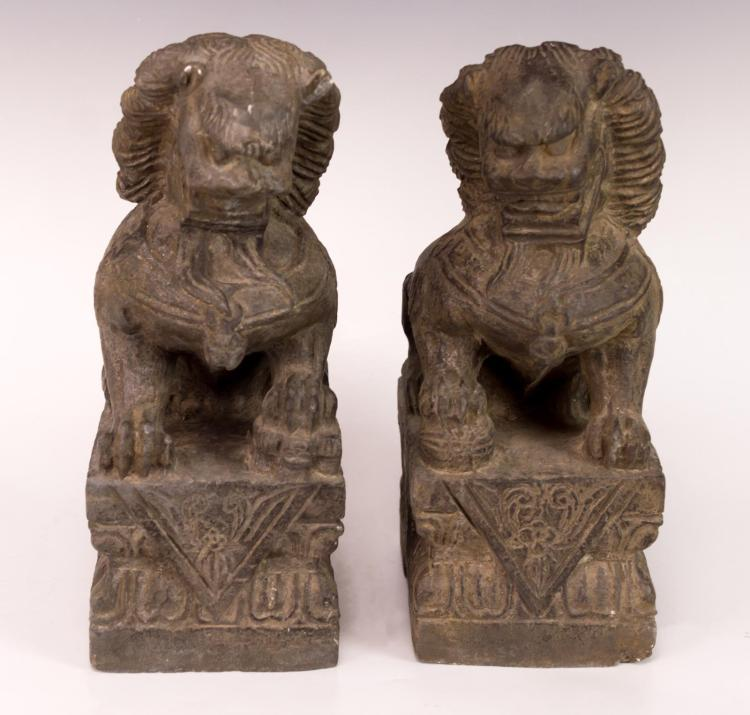 2Pc Antique Asian Foo Dog Stone Figure Lot