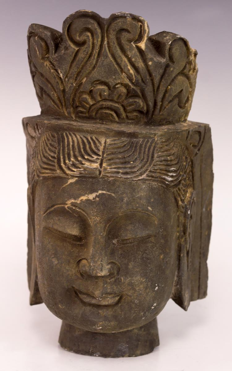 Antique Asian Stone Head of Buddha