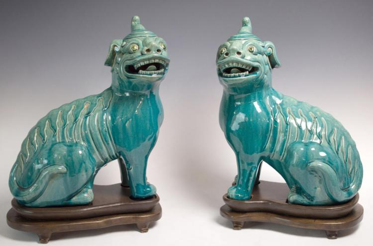 2Pc  20th C. Chinese Foo Dogs w/ Wooden Bases
