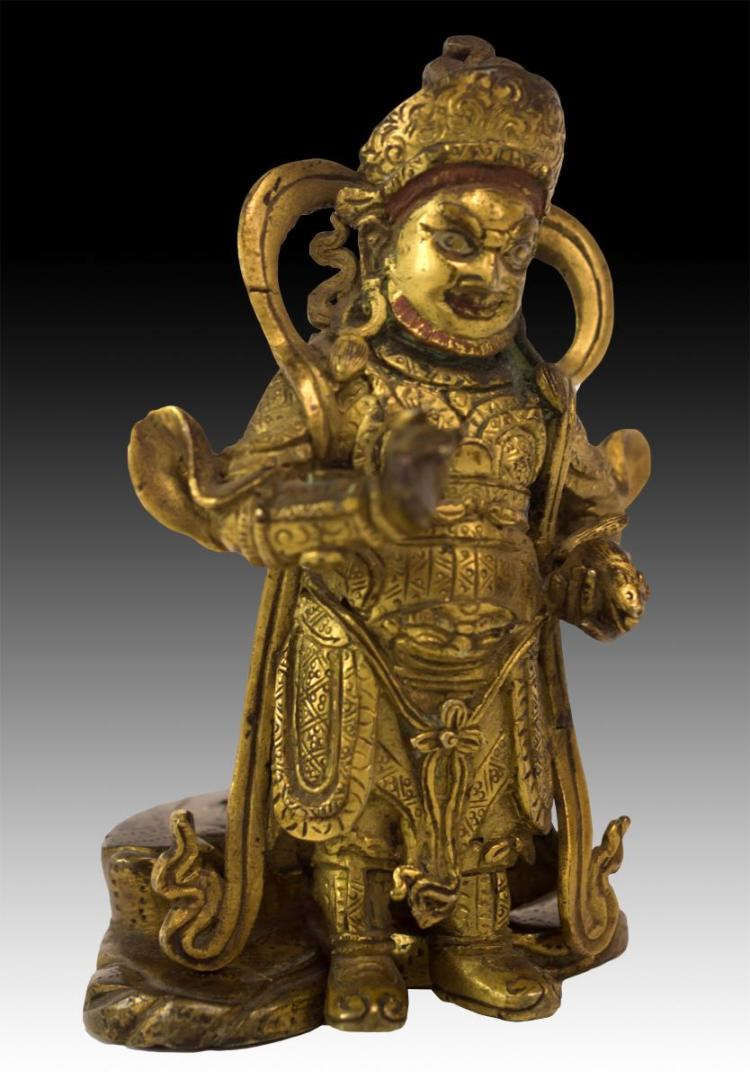 Asian Bronze God Figure Holding Rat