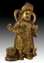 Asian Bronze God Figure Holding Rat