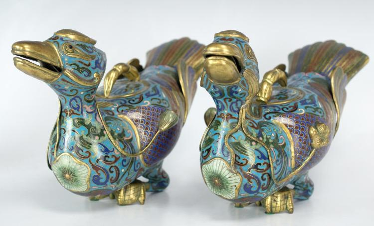 Pair 20th C. Chinese Cloisonne Enameled Ducks