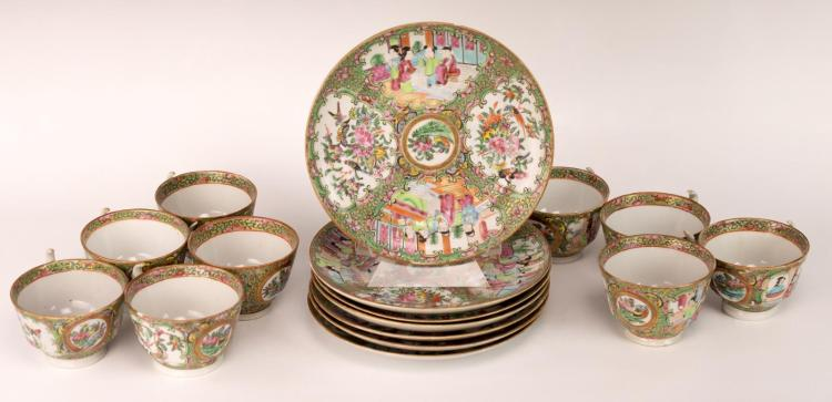 16PC Chinese Rose Canton Porcelain Plate & Cup