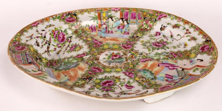 Chinese Famille Rose Porcelain Footed Meat Tray