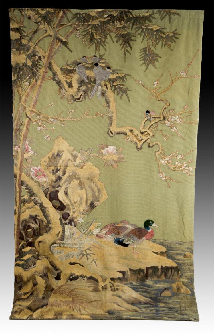 Meiji Period Hand Sewn Silk Tapestry w/ Ducks
