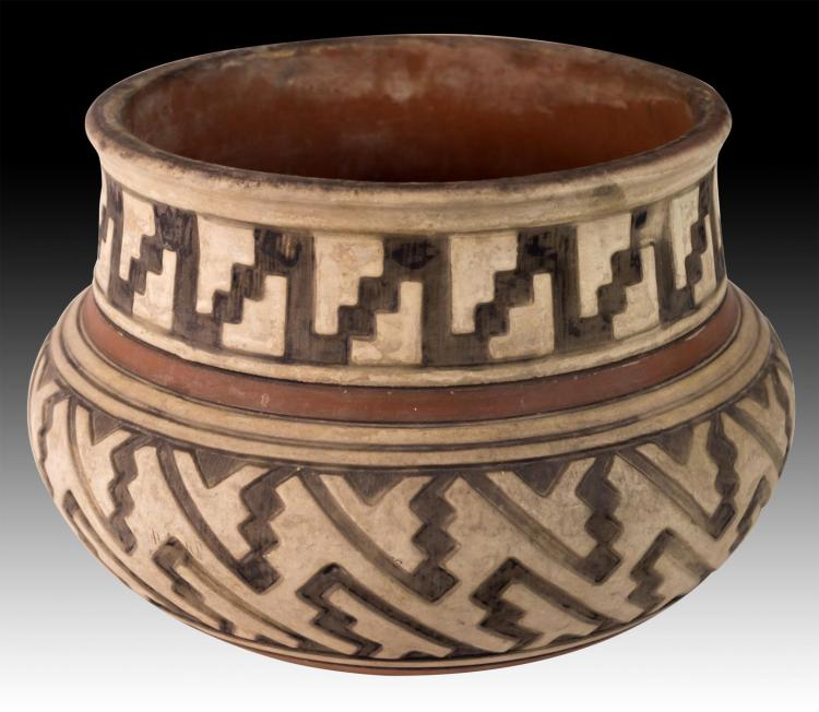Terracotta Polychrome Painted Bowl, Incised Design