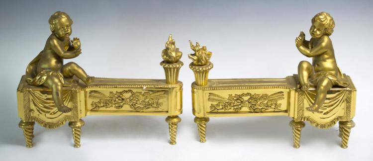 19th C French Louis XVI Ormolu Chenet Pair, Putti