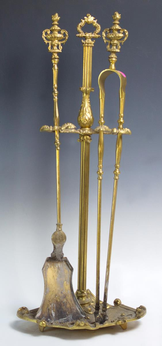 19th C French Louis XVI Ormolu Fireplace Tools