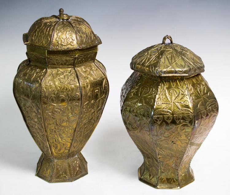 19th Century Pair of Brass Covered Urns