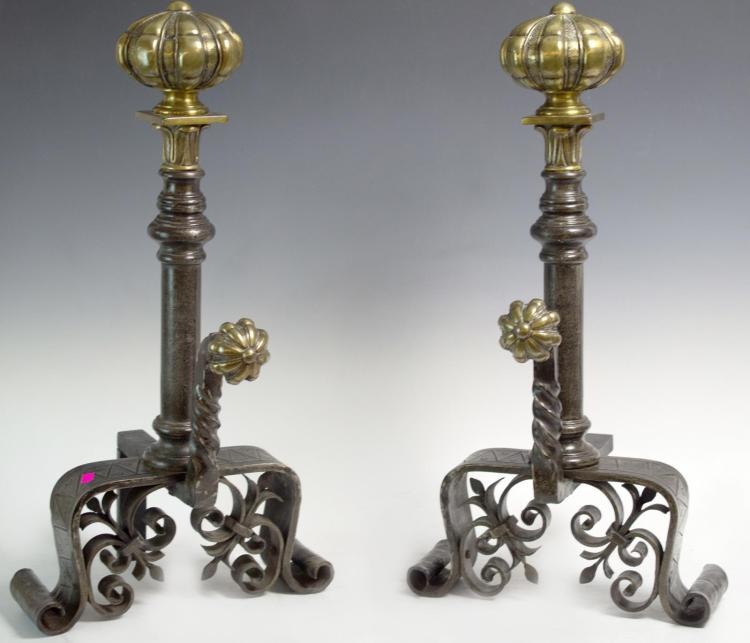 19th Century Hand Forged Iron & Brass Andirons