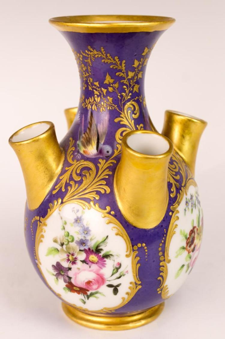 Hand Painted Tuliper Vase w/ 4 Side Trumpets