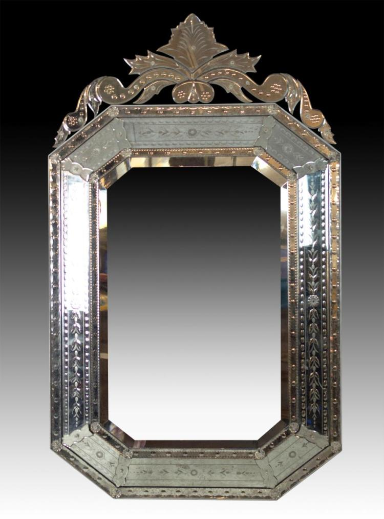 Ornate Italian Venetian Glass Style Etched Mirror