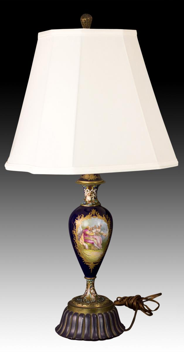 20th C. Porcelain Table Lamp w/ Courting Scene