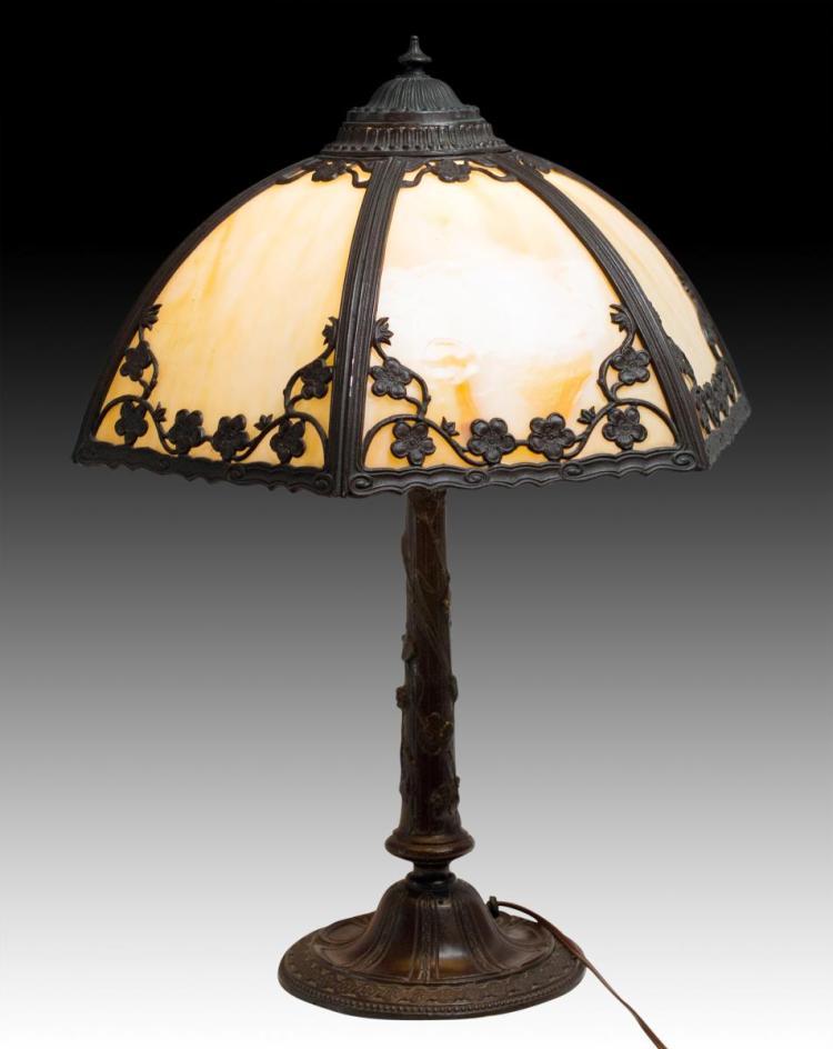 Art Nouveau Style Bronze & Slag Glass Lamp