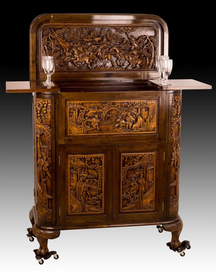 Chinoiserie Carved Bar, Lift Top & Bottle Storage