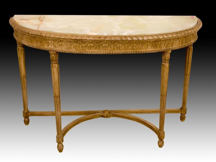 Marble Top Demilune Table