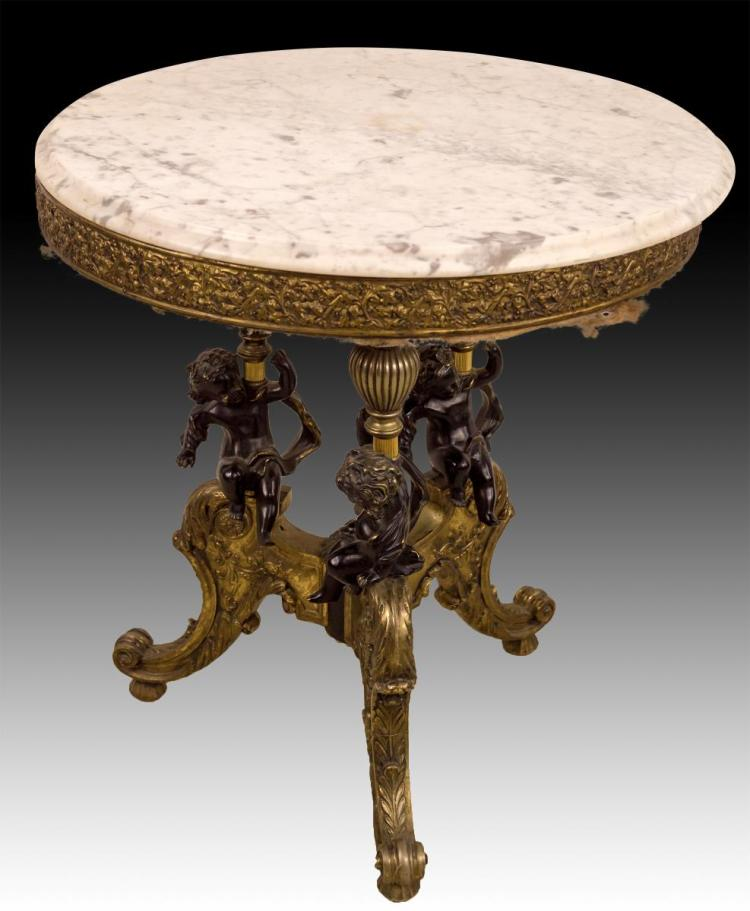 Marble Top Round Table w/ Cherubs