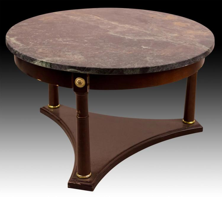 20th C Green Marble Wooden Round Table