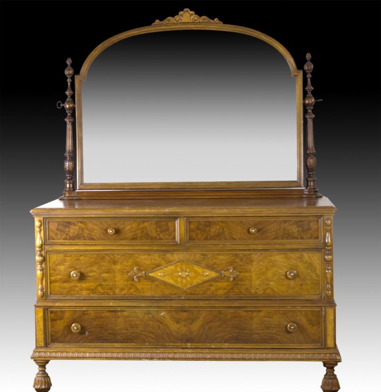 c 1930s Mahogany Dresser w/ Mirror
