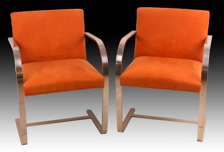 Pair Knoll Mies Van Der Rohe, Flat Bar Brno Chairs