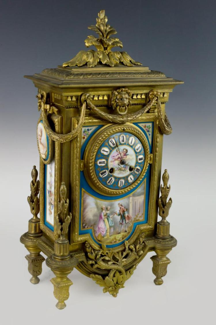 Japy Freres Porcelain Painted & Gilt Clock
