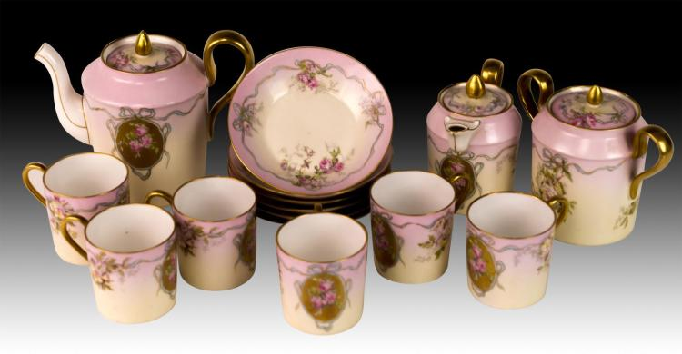15Pc Limoges Porcelain Tea Set