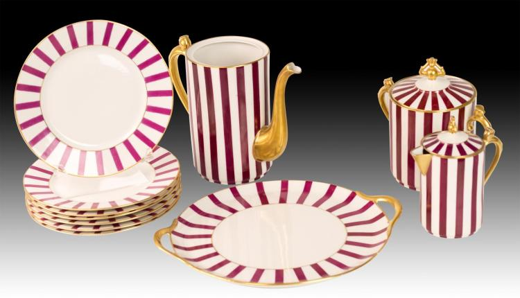 11Pc Red & White Limoges Porcelain Lot