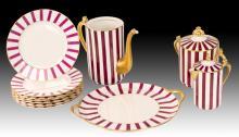 11Pc Red & White Limoges Porcelain Lot