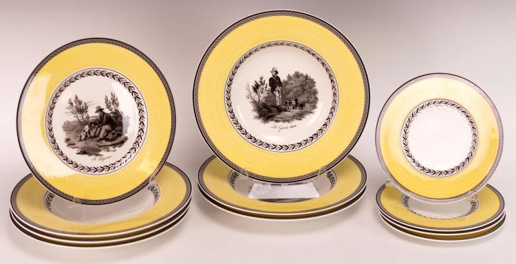 11Pc Villeroy & Boch Audun Chasse Porcelain Lot