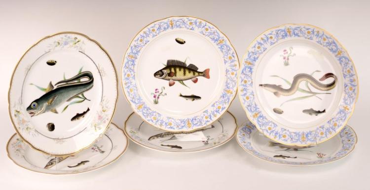 6Pc Fish Plate Lot