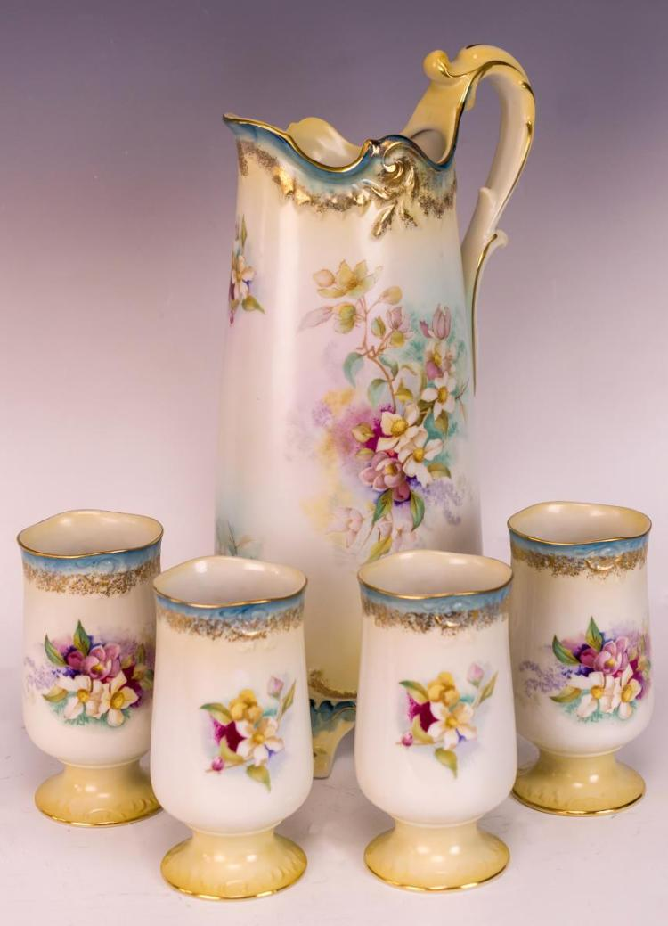 5Pc RS Germany Porcelain Pitcher & Cup Lot