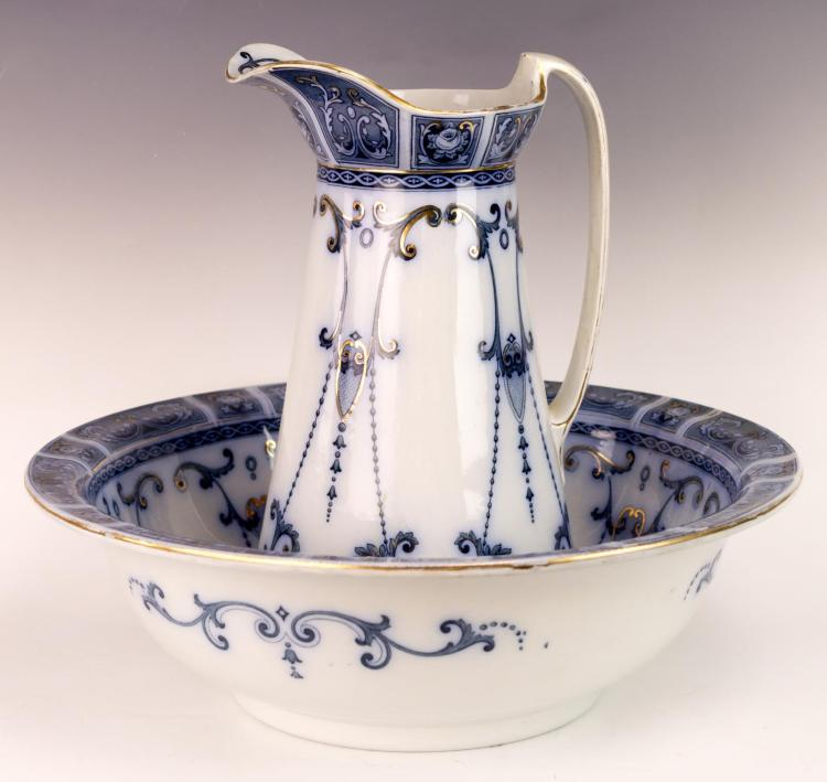 2Pc Dresden Flow Blue Pitcher & Bowl