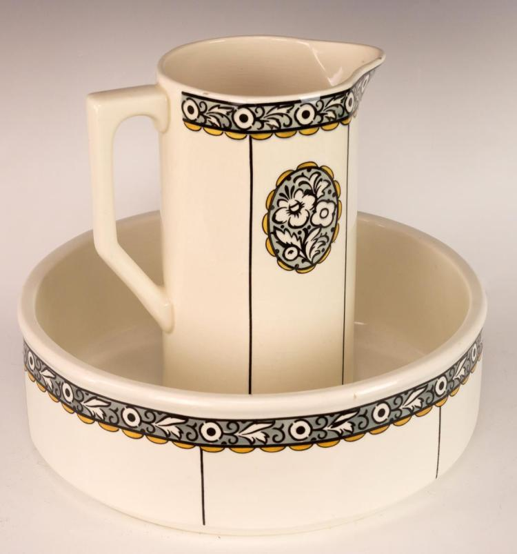 2Pc Villeroy and Bach Art Deco Pitcher & Bowl