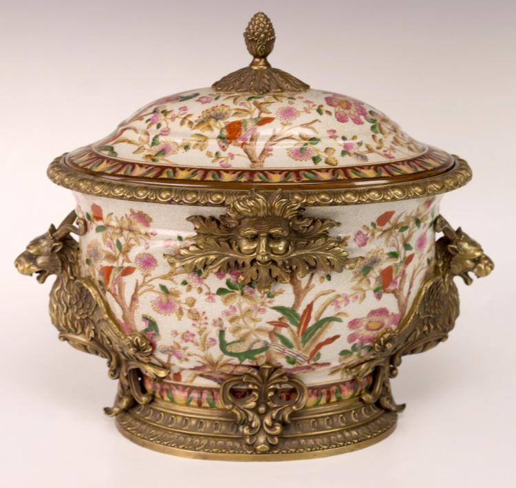 Porcelain Tureen w/ Brass Griffins & Green Men