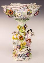 Antique Dresden Porcelain Reticulated Compote
