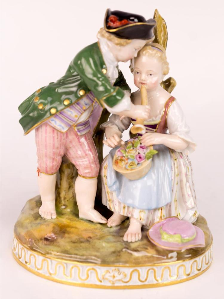 Antique Meissen Hand Painted Porcelain Figurine